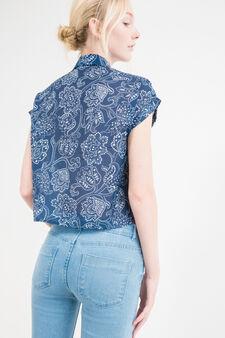 Camicia maniche corte con stampa, Blu, hi-res