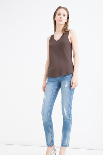 100% cotton top with lace insert, Chocolate Brown, hi-res