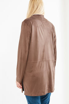Curvy leather-look suede jacket, Brown, hi-res