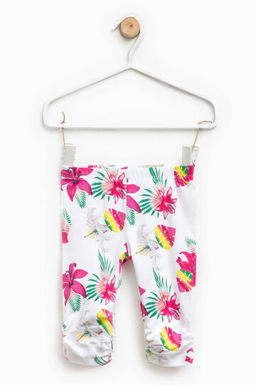 Floral trousers with gathered hem