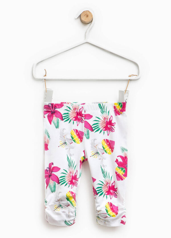 Floral trousers with gathered hem | OVS