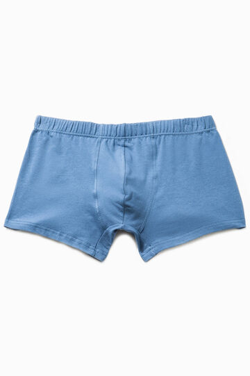 Solid colour stretch cotton boxer shorts, Denim Blue, hi-res