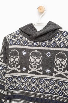 Pullover tricot stampa all-over, Grigio, hi-res