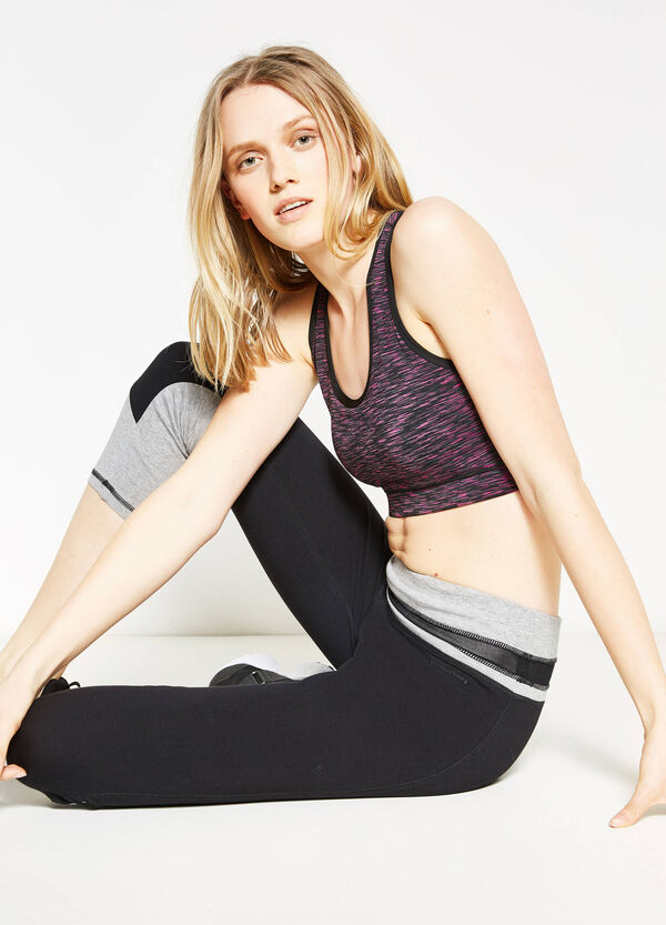 Solid colour stretch cotton running tights | OVS