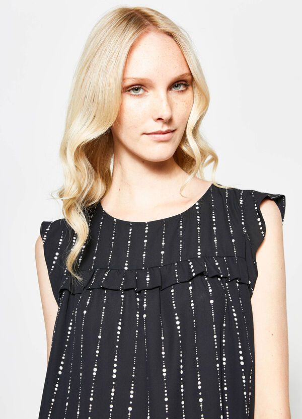 Patterned blouse with flounces | OVS