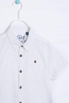 Camicia puro cotone tinta unita, Bianco, hi-res