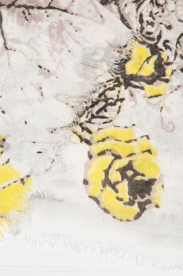 100% viscose printed scarf., White/Grey, hi-res