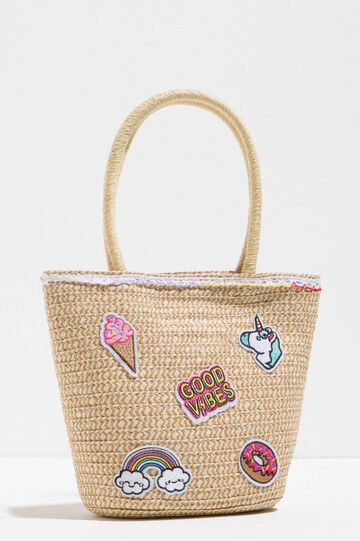 Woven shoulder bag with patch