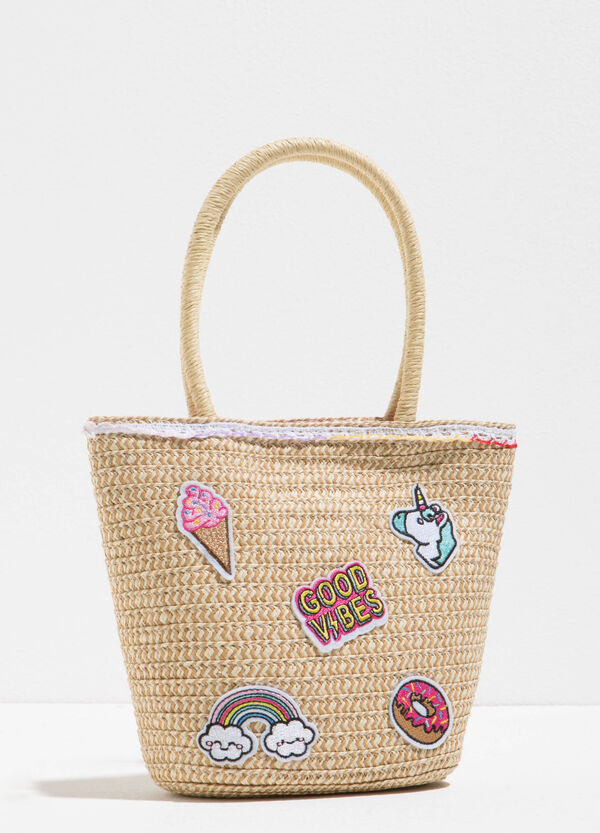 Woven shoulder bag with patch | OVS