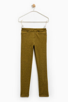 Stretch jeggings with all-over print, Yellow, hi-res