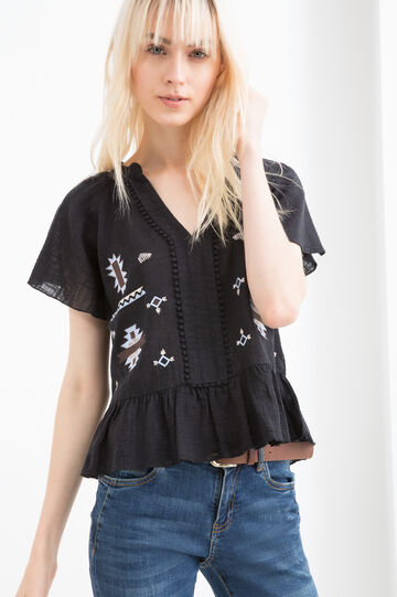 100% cotton blouse with frills and embroidery, Black, hi-res