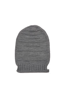 Striped-pattern beanie cap, Grey Marl, hi-res