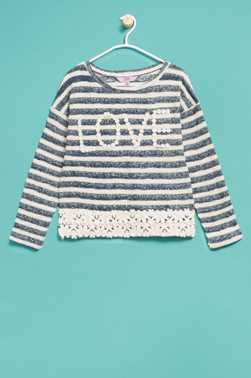 Striped cotton sweatshirt with lace, White/Grey, hi-res