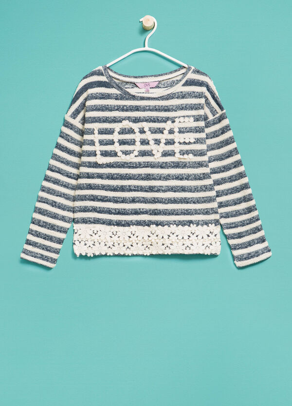 Striped cotton sweatshirt with lace | OVS