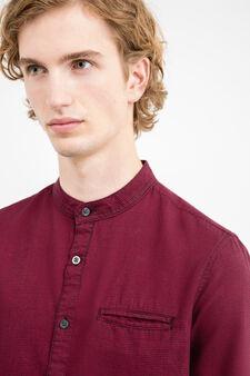 Camicia casual slim fit a micro quadri, Rosso, hi-res