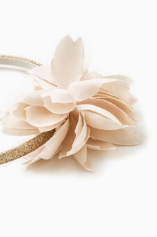 Hairband with flower, Beige, hi-res