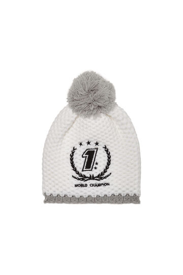 Beanie cap with pompoms, White, hi-res