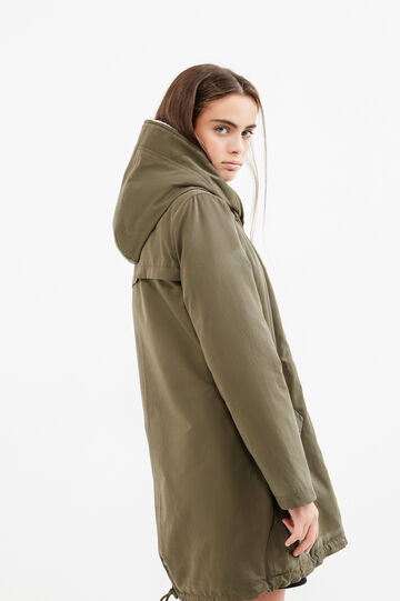 Cotton blend Teen parka with hood, Army Green, hi-res