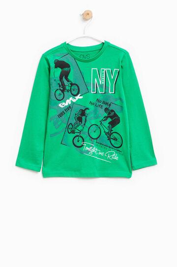 100% cotton T-shirt with maxi print, Green, hi-res