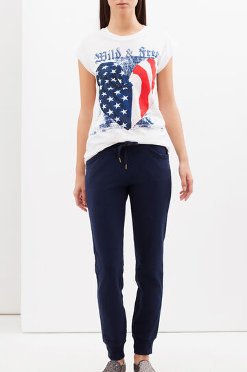 Pantaloni in felpa tinta unita, Blu navy, hi-res