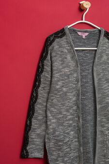 Cotton blend long cardigan with lace, White/Black, hi-res