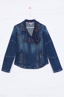 Giacca di jeans strass e borchiette, Blu denim, hi-res