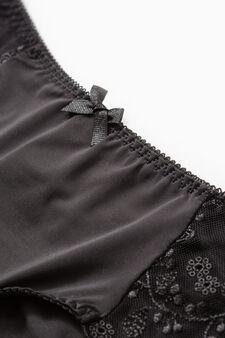 Solid colour Brazilian-cut briefs with lace, Black, hi-res