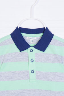 Patterned polo shirt in 100% cotton, Grey/Green, hi-res
