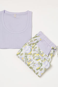 Patterned pyjamas in 100% cotton, Lilac, hi-res