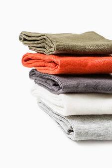 Five-pair pack solid stretch socks, Orange, hi-res