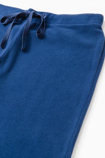 Solid colour pyjama trousers in fleece, Navy Blue, hi-res