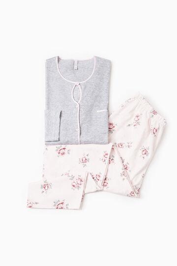 100% cotton floral pyjamas, Grey Marl, hi-res