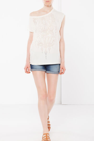 T-shirt smanicata con trasparenze, Bianco, hi-res