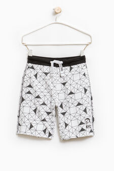 Cotton Bermuda shorts with geometric pattern, White, hi-res