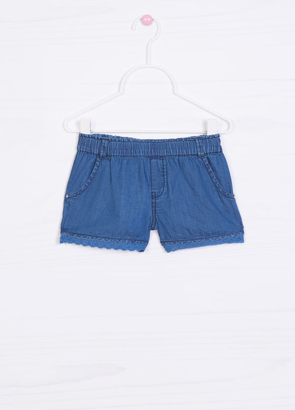 Solid colour denim shorts | OVS