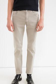 Slim fit, stretch cotton trousers, Grey, hi-res