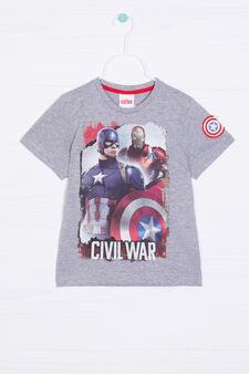 T-shirt cotone Capitan America, Grigio melange, hi-res