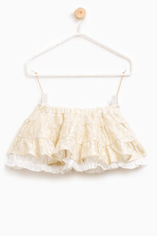 Flounced skirt in 100% cotton, Milky White, hi-res