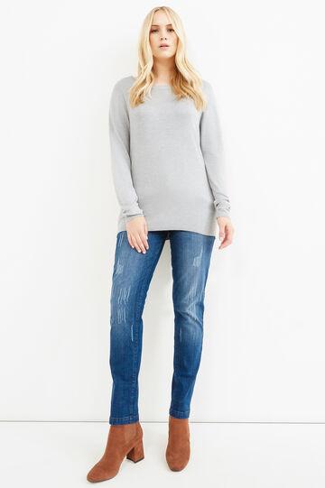Curvy solid colour viscose pullover, Grey Marl, hi-res