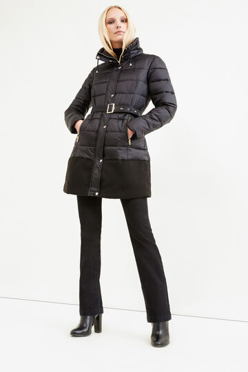 Stretch viscose jacket with belt, Black, hi-res