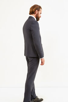 Elegant slim-fit suit in stretch viscose, Dark Grey, hi-res