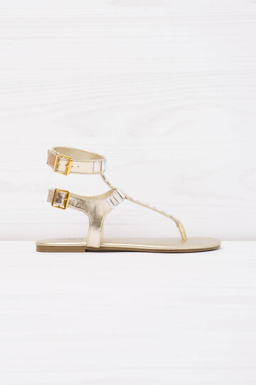 Thong sandals with diamantés., Golden Yellow, hi-res