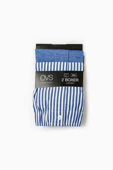 Two-pack cotton boxer shorts solid colour and striped, Blue, hi-res