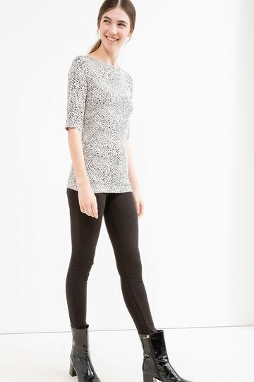 T-shirt viscosa stretch fantasia, Nero/Bianco, hi-res