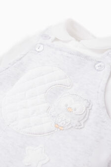 Cotton T-shirt and dungarees outfit, White/Grey, hi-res