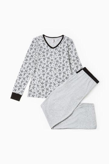 Patterned stretch cotton pyjamas, Grey Marl, hi-res