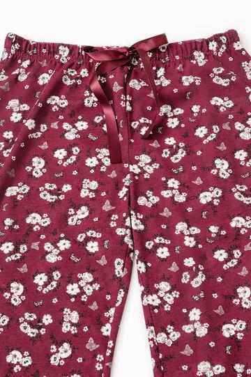 Pantaloni pigiama floreali con pizzo, Rosso scuro, hi-res
