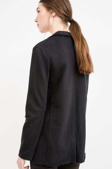 Cotton blend long blazer with lapels, Black, hi-res