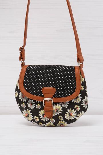 Patterned cotton shoulder bag., Black, hi-res