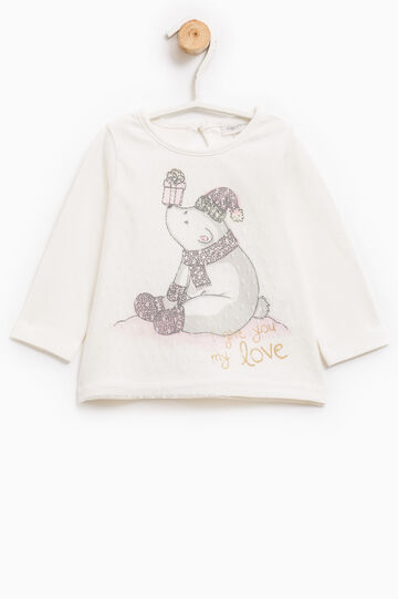Printed long-sleeved T-shirt, Milky White, hi-res